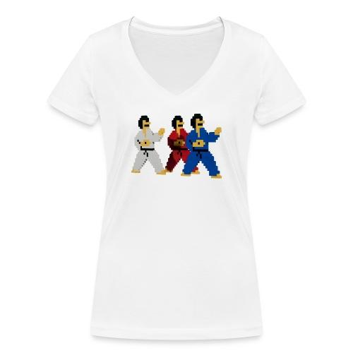 8 bit trip ninjas 1 - Women's Organic V-Neck T-Shirt by Stanley & Stella