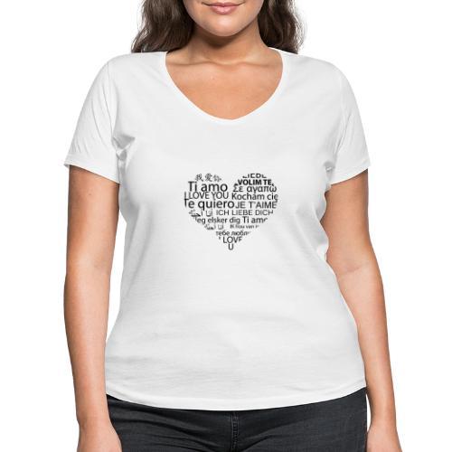 sticker je t aime en coeur ambiance sticker - Frauen Bio-T-Shirt mit V-Ausschnitt von Stanley & Stella
