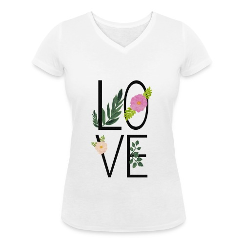 Love Sign with flowers - Women's Organic V-Neck T-Shirt by Stanley & Stella