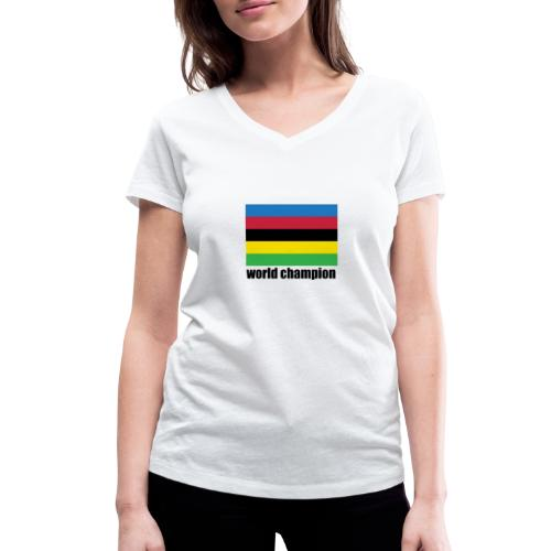 world champion cycling stripes - Vrouwen bio T-shirt met V-hals van Stanley & Stella