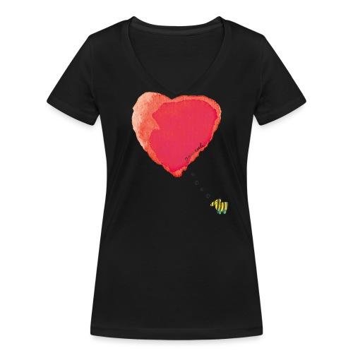 Janoschs Tigerente hat nur Liebe im Sinn MP - Frauen Bio-T-Shirt mit V-Ausschnitt von Stanley & Stella