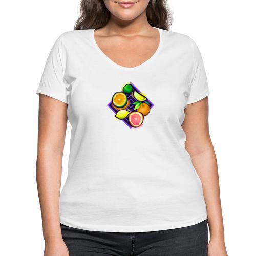 Citrus Pop Art - Frauen Bio-T-Shirt mit V-Ausschnitt von Stanley & Stella