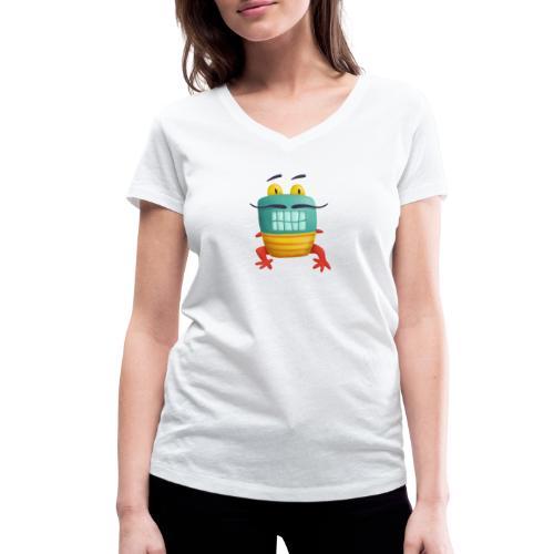 Französisches Froschmonster mit Schnurrbart - Frauen Bio-T-Shirt mit V-Ausschnitt von Stanley & Stella