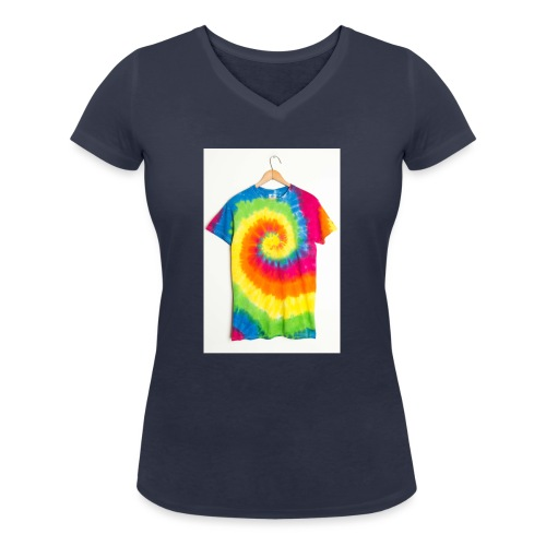 tie die small merch - Women's Organic V-Neck T-Shirt by Stanley & Stella