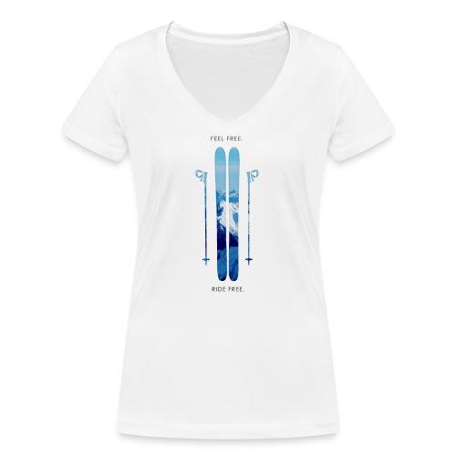 Freeski - Black - Frauen Bio-T-Shirt mit V-Ausschnitt von Stanley & Stella