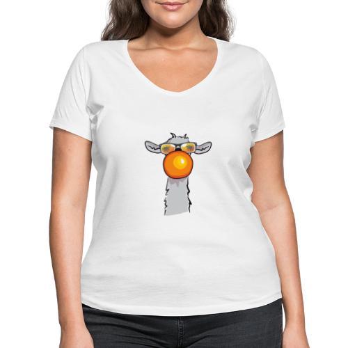 Chewing Llama - Frauen Bio-T-Shirt mit V-Ausschnitt von Stanley & Stella