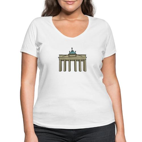 Brama Brandenburska BERLIN c - Ekologiczna koszulka damska z dekoltem w serek Stanley & Stella