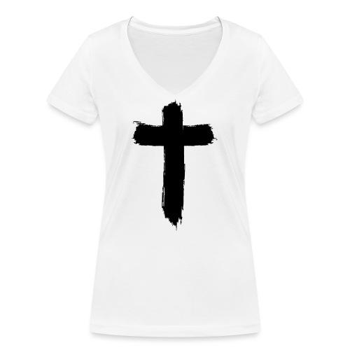 Brushed-Cross - Frauen Bio-T-Shirt mit V-Ausschnitt von Stanley & Stella