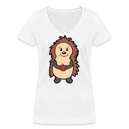 Igel mit Apfel in den Händen - Frauen Bio-T-Shirt mit V-Ausschnitt von Stanley & Stella