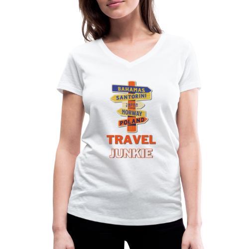traveljunkie - i like to travel - Frauen Bio-T-Shirt mit V-Ausschnitt von Stanley & Stella