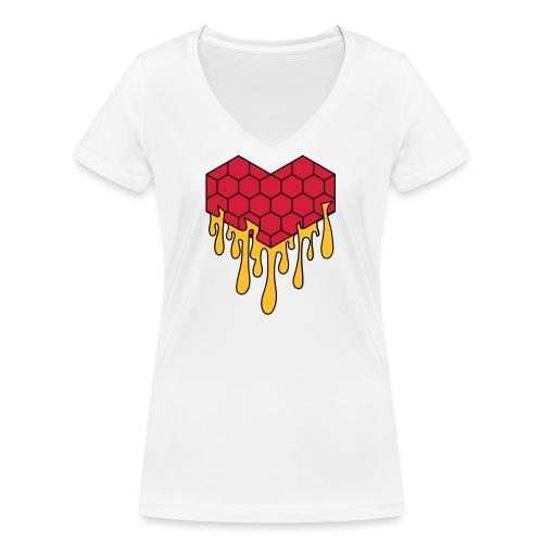 Honey heart cuore miele radeo - T-shirt ecologica da donna con scollo a V di Stanley & Stella