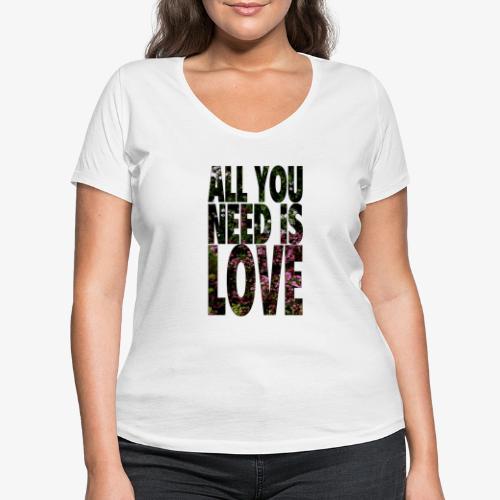 All You need is love - Ekologiczna koszulka damska z dekoltem w serek Stanley & Stella