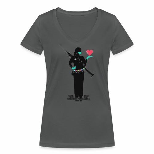 Nuestras Heroinas. - Camiseta ecológica mujer con cuello de pico de Stanley & Stella