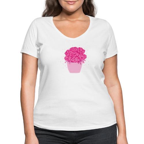 Ranunkeln, Blumen in Pink handgezeichnet - Frauen Bio-T-Shirt mit V-Ausschnitt von Stanley & Stella