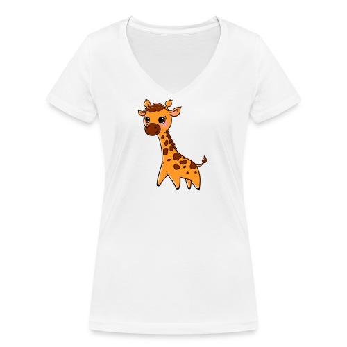 Mini Giraffe - Women's Organic V-Neck T-Shirt by Stanley & Stella
