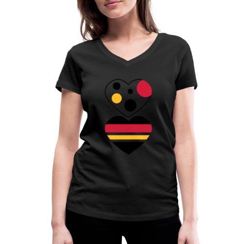 due cuori - T-shirt ecologica da donna con scollo a V di Stanley & Stella