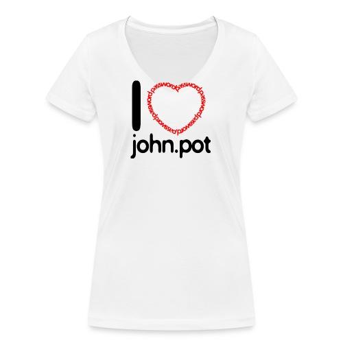 I Love John.pot - Women's Organic V-Neck T-Shirt by Stanley & Stella
