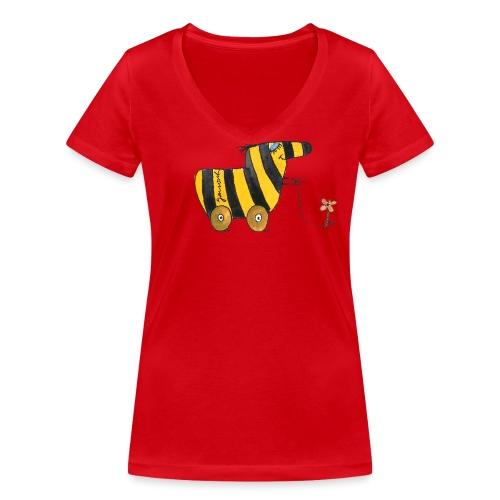 Janoschs Tigerente mit Blume - Frauen Bio-T-Shirt mit V-Ausschnitt von Stanley & Stella