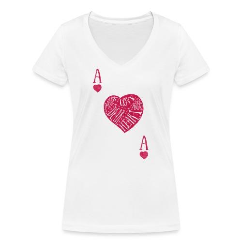 Camiseta As de Corazones - Camiseta ecológica mujer con cuello de pico de Stanley & Stella