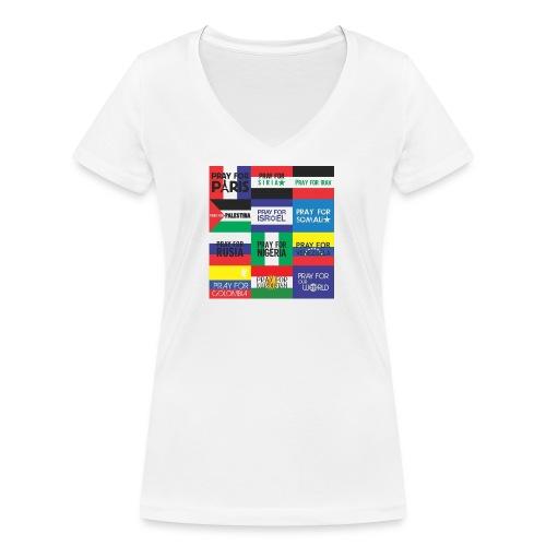 Pray for the World - Vrouwen bio T-shirt met V-hals van Stanley & Stella