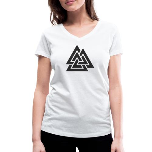 Valknut. Símbolo vikingo - Camiseta ecológica mujer con cuello de pico de Stanley & Stella