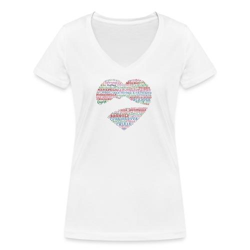 I Luoghi di Napoli di CuordiNapoli - T-shirt ecologica da donna con scollo a V di Stanley & Stella
