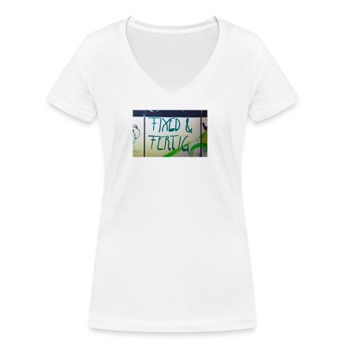 KLOSPRUCH FIXED & FERTIG - Frauen Bio-T-Shirt mit V-Ausschnitt von Stanley & Stella