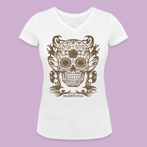 SKULL FLOWERS LEO - Frauen Bio-T-Shirt mit V-Ausschnitt von Stanley & Stella