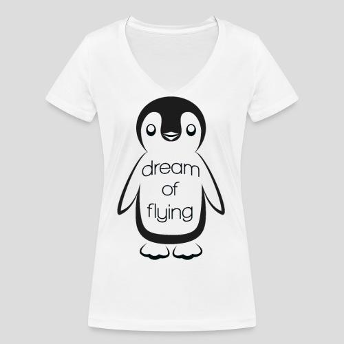 Dream of Flying Pinguin - Women's Organic V-Neck T-Shirt by Stanley & Stella