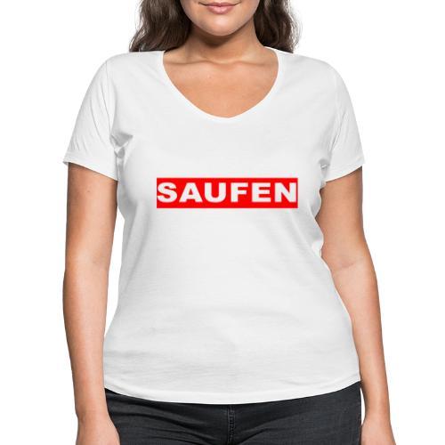SAUFEN - Frauen Bio-T-Shirt mit V-Ausschnitt von Stanley & Stella