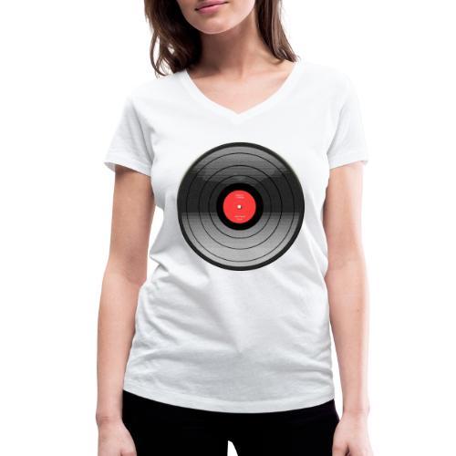 Vinyl Sunrise - Ekologiczna koszulka damska z dekoltem w serek Stanley & Stella