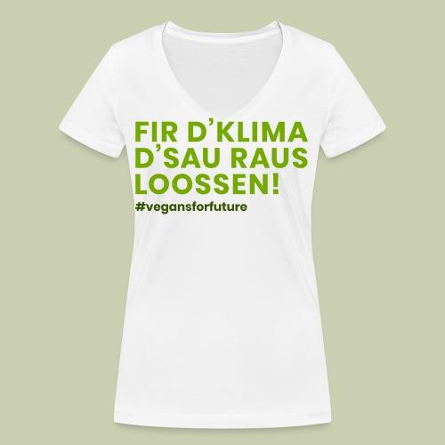 Klimasau - #vegansforfuture - Frauen Bio-T-Shirt mit V-Ausschnitt von Stanley & Stella