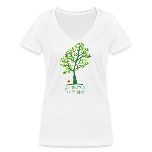 Je protege la planete Arbre - T-shirt bio col V Stanley & Stella Femme