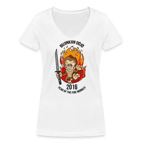 Fire monkey - Women's Organic V-Neck T-Shirt by Stanley & Stella