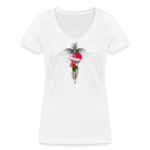 L' Amour - Die Liebe in Flammen - Frauen Bio-T-Shirt mit V-Ausschnitt von Stanley & Stella