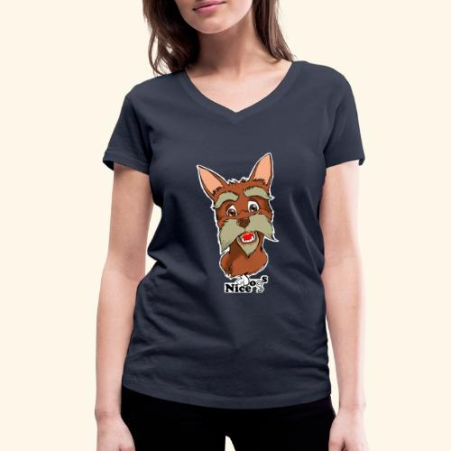Nice Dogs schnauzer - T-shirt ecologica da donna con scollo a V di Stanley & Stella