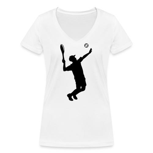 Tennisspieler Silhouette - Frauen Bio-T-Shirt mit V-Ausschnitt von Stanley & Stella