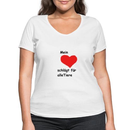 Mein Herz schlägt für alle Tiere schwarz Neu - Frauen Bio-T-Shirt mit V-Ausschnitt von Stanley & Stella