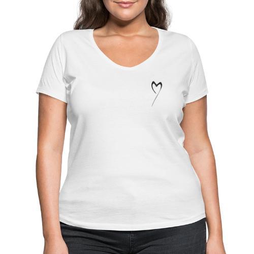 Line Heart - Camiseta ecológica mujer con cuello de pico de Stanley & Stella