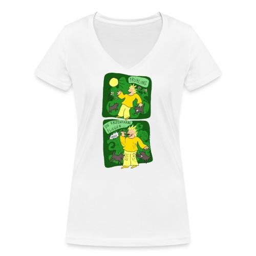 Katzenhaare - Frauen Bio-T-Shirt mit V-Ausschnitt von Stanley & Stella