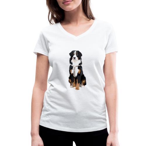 Freja sitter framifrån - Ekologisk T-shirt med V-ringning dam från Stanley & Stella