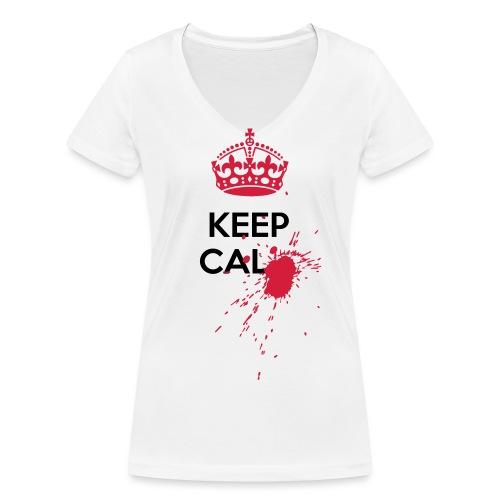 Blood spot Keep Calm horror - T-shirt ecologica da donna con scollo a V di Stanley & Stella