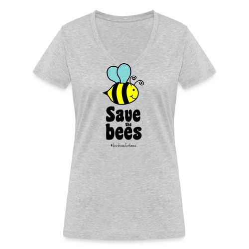 Bees9-1 save the bees | Bienen Blumen Schützen - Women's Organic V-Neck T-Shirt by Stanley & Stella