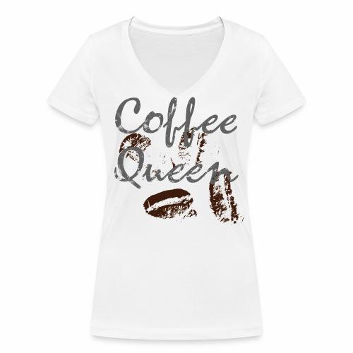 coffee queen bohnen grunge - Frauen Bio-T-Shirt mit V-Ausschnitt von Stanley & Stella
