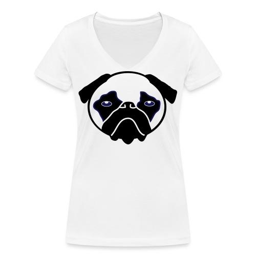 Mops, Hund - Frauen Bio-T-Shirt mit V-Ausschnitt von Stanley & Stella