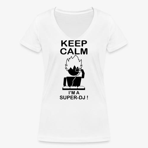 KEEP CALM SUPER DJ B&W - T-shirt bio col V Stanley & Stella Femme
