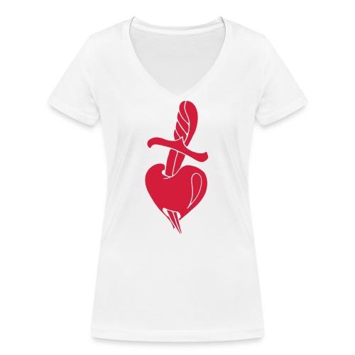 Broken Hearts Love Hate Tattoo Knife blood dagger - Frauen Bio-T-Shirt mit V-Ausschnitt von Stanley & Stella