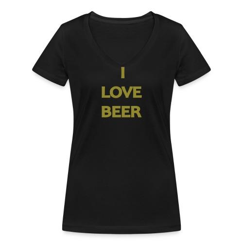 I LOVE BEER - T-shirt ecologica da donna con scollo a V di Stanley & Stella