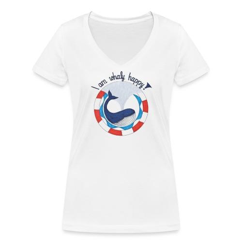 I am whaly happy! - Frauen Bio-T-Shirt mit V-Ausschnitt von Stanley & Stella