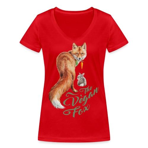 The Vegan Fox door Maria Tiqwah - Vrouwen bio T-shirt met V-hals van Stanley & Stella